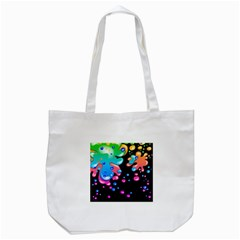Neon Paint Splatter Background Club Tote Bag (white) by Mariart