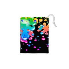 Neon Paint Splatter Background Club Drawstring Pouches (xs)  by Mariart