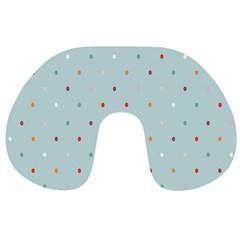 Polka Dot Flooring Blue Orange Blur Spot Travel Neck Pillows by Mariart