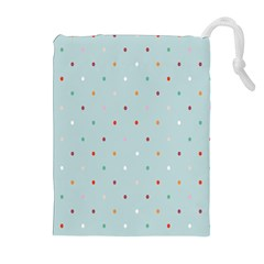 Polka Dot Flooring Blue Orange Blur Spot Drawstring Pouches (extra Large) by Mariart