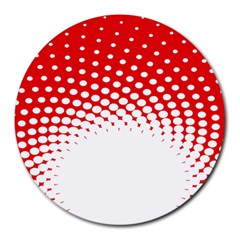 Polka Dot Circle Hole Red White Round Mousepads by Mariart