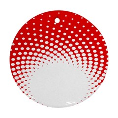 Polka Dot Circle Hole Red White Ornament (round) by Mariart