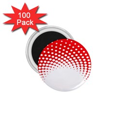 Polka Dot Circle Hole Red White 1 75  Magnets (100 Pack)  by Mariart