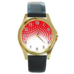 Polka Dot Circle Hole Red White Round Gold Metal Watch by Mariart
