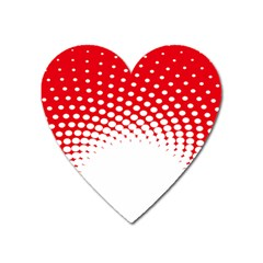 Polka Dot Circle Hole Red White Heart Magnet by Mariart