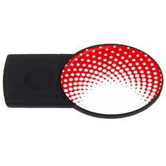Polka Dot Circle Hole Red White Usb Flash Drive Oval (2 Gb) by Mariart