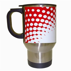 Polka Dot Circle Hole Red White Travel Mugs (white) by Mariart