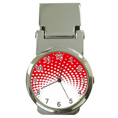 Polka Dot Circle Hole Red White Money Clip Watches by Mariart