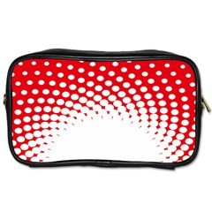 Polka Dot Circle Hole Red White Toiletries Bags 2 Side by Mariart