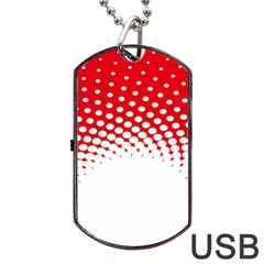 Polka Dot Circle Hole Red White Dog Tag Usb Flash (one Side) by Mariart