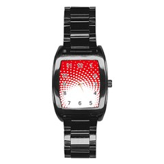 Polka Dot Circle Hole Red White Stainless Steel Barrel Watch by Mariart
