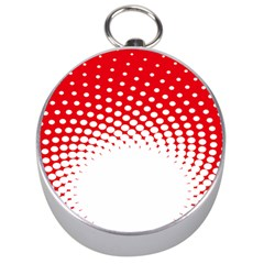 Polka Dot Circle Hole Red White Silver Compasses by Mariart