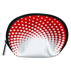 Polka Dot Circle Hole Red White Accessory Pouches (medium)  by Mariart
