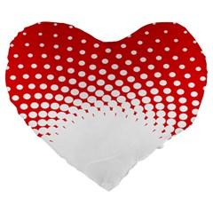 Polka Dot Circle Hole Red White Large 19  Premium Flano Heart Shape Cushions by Mariart