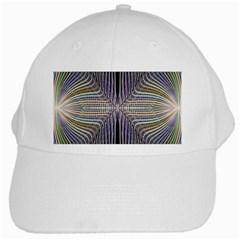 Color Fractal Symmetric Wave Lines White Cap by Simbadda