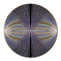 Color Fractal Symmetric Wave Lines Round Mousepads by Simbadda