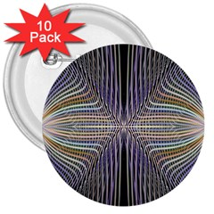 Color Fractal Symmetric Wave Lines 3  Buttons (10 Pack)  by Simbadda