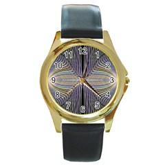 Color Fractal Symmetric Wave Lines Round Gold Metal Watch by Simbadda
