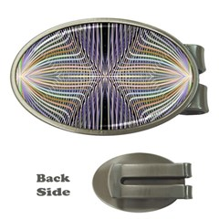 Color Fractal Symmetric Wave Lines Money Clips (oval)  by Simbadda