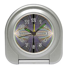 Color Fractal Symmetric Wave Lines Travel Alarm Clocks by Simbadda