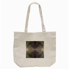 Color Fractal Symmetric Wave Lines Tote Bag (cream) by Simbadda