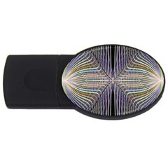 Color Fractal Symmetric Wave Lines Usb Flash Drive Oval (4 Gb) by Simbadda