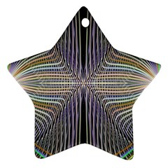 Color Fractal Symmetric Wave Lines Star Ornament (two Sides) by Simbadda
