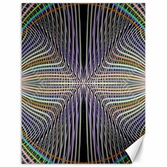 Color Fractal Symmetric Wave Lines Canvas 12  X 16   by Simbadda