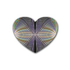 Color Fractal Symmetric Wave Lines Rubber Coaster (heart)  by Simbadda