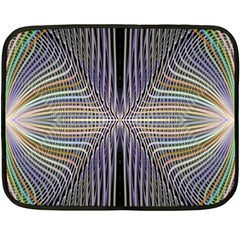 Color Fractal Symmetric Wave Lines Fleece Blanket (mini) by Simbadda