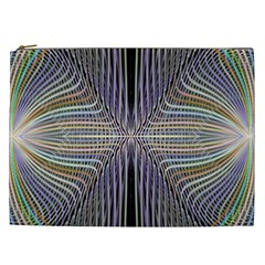 Color Fractal Symmetric Wave Lines Cosmetic Bag (xxl)  by Simbadda