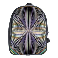 Color Fractal Symmetric Wave Lines School Bags (xl)  by Simbadda