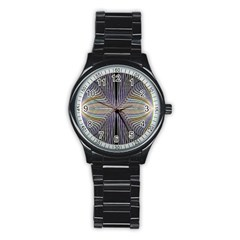 Color Fractal Symmetric Wave Lines Stainless Steel Round Watch by Simbadda