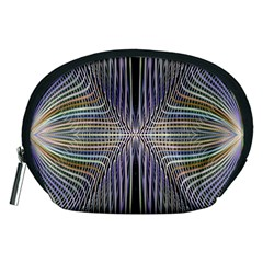 Color Fractal Symmetric Wave Lines Accessory Pouches (medium)  by Simbadda