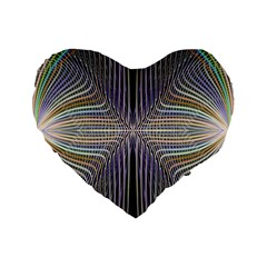 Color Fractal Symmetric Wave Lines Standard 16  Premium Flano Heart Shape Cushions by Simbadda