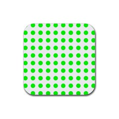 Polka Dot Green Rubber Square Coaster (4 Pack)  by Mariart
