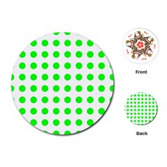 Polka Dot Green Playing Cards (round)