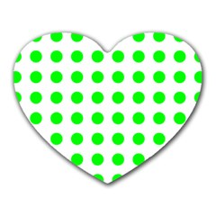 Polka Dot Green Heart Mousepads by Mariart