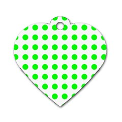 Polka Dot Green Dog Tag Heart (one Side) by Mariart