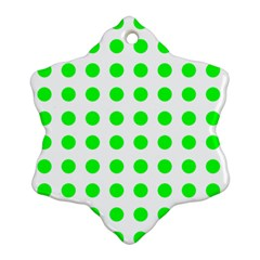 Polka Dot Green Ornament (snowflake) by Mariart