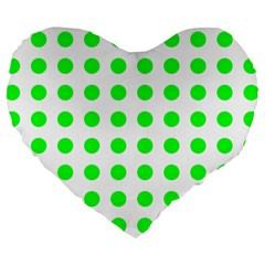 Polka Dot Green Large 19  Premium Flano Heart Shape Cushions by Mariart