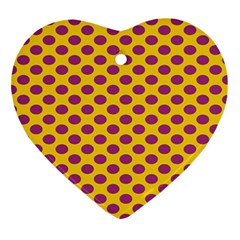Polka Dot Purple Yellow Orange Ornament (heart) by Mariart