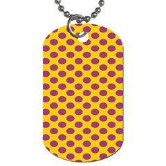 Polka Dot Purple Yellow Orange Dog Tag (two Sides) by Mariart
