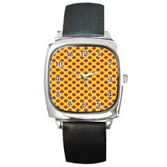 Polka Dot Purple Yellow Orange Square Metal Watch by Mariart