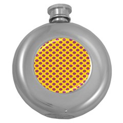 Polka Dot Purple Yellow Orange Round Hip Flask (5 Oz)