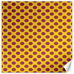 Polka Dot Purple Yellow Orange Canvas 20  X 20