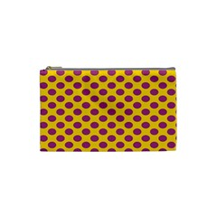 Polka Dot Purple Yellow Orange Cosmetic Bag (small)  by Mariart
