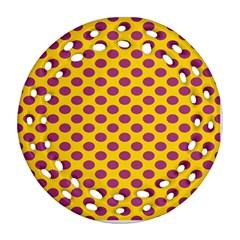 Polka Dot Purple Yellow Orange Ornament (round Filigree) by Mariart