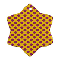 Polka Dot Purple Yellow Orange Snowflake Ornament (two Sides) by Mariart
