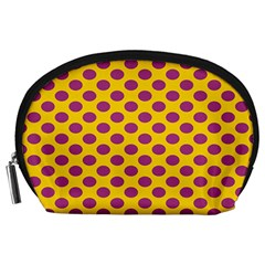 Polka Dot Purple Yellow Orange Accessory Pouches (large)  by Mariart
